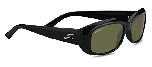 Serengeti RX Eyewear Bianca Sunglasses (Shiny Black, Polar 555 NM)