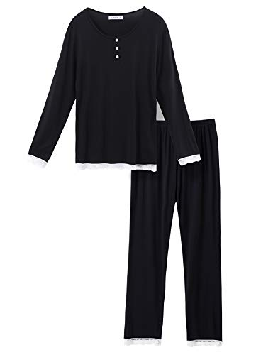 Lusofie Pajamas for Women Long Sleeve Pajama Top Lace Trim Pants Pjs Sets Sleepwear (Black, L)