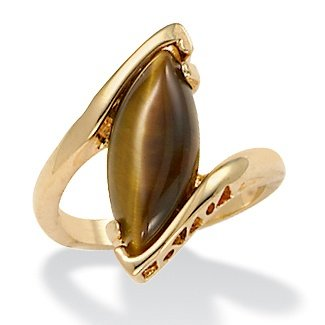Genuine Tigers Eye Gold Plated Marquise Cocktail