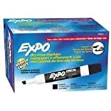 2 Packs of 12 of Low Odor Expo Dry Erase Markers, Chisel Tip, Black