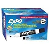 Expo 80001 Low Odor Chisel Point Dry Erase Markers, Low Odor Alcohol-Based Ink, Designed for Whiteboards, Glass and Most Non-Porous Surfaces, Black, 12 Units per Box, Pack of 2 Boxes, 24 Markers Total