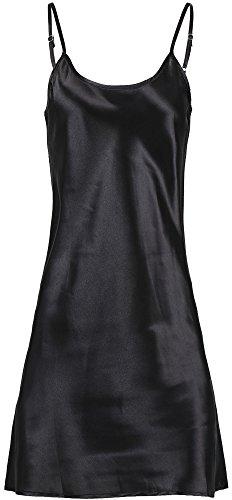 Verabella Women's Elegant Nightshirts Satin Sleepwear Chemise Slip,Black,L/XL