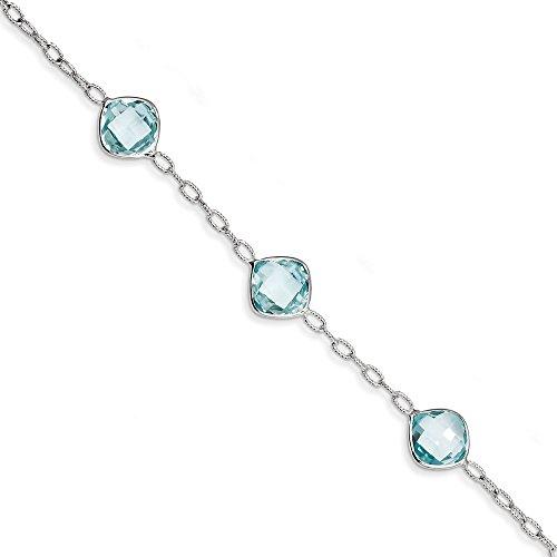 Sterling topaze bleue argentée Bracelet-JewelryWeb