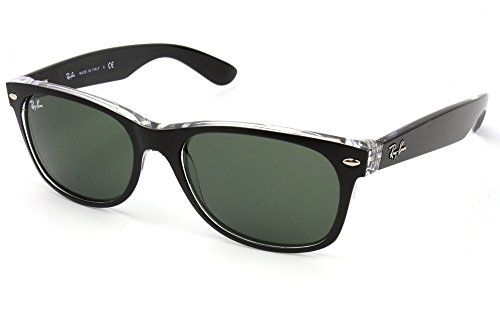 Men's New Wayfarer Square Sunglasses, TOP BLACK ON TRANSPARENT, 55 - Wayfarer On Ray Ban Black Black