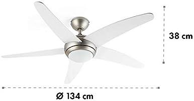 KLARSTEIN Bolero – 2 en 1, Ventilador de Techo, 134 cm, lámpara de ...