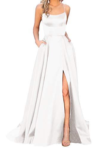 JASY Women's Spaghetti Satin Long Black Side Slit Prom Dresses with - White Satin Dress