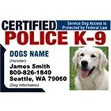 "PERSONALIZE Dean & Tyler ""CERTIFIED POLICE K9 #2"" Dog ID Badge Bundle - 1 Handler's Custom ID Badge - 1 Dog's Custom ID Badge - Design#2 - Horizontal"