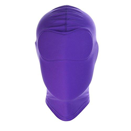 HOT TIME Unisex Lycra Spandex Zentai Hood Mask (L-Large, Purple-Full -