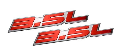 - 2 x (pair/set) 3.5L Liter Embossed RED on Highly Polished Silver Real Aluminum Auto Emblem Badge Nameplate for Dodge Intrepid RT SXT Avenger Challenger SE Magnum Charger Chrysler New Yorker LHS Sebring Concorde 300 300M Special Plymouth Prowler Eagle Vision Ford Taurus X SE Sedan Edge F-150 Fusion Sport Flex Explorer Ecoboost Pontiac G6 Lincoln MKX MKZ