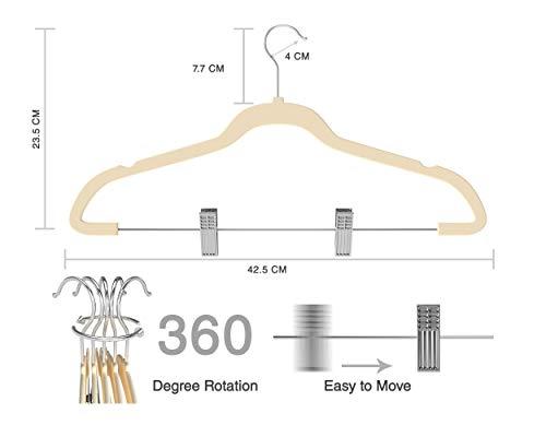 Premium Quality Velvet Pants Hanger Set of 26 - Ultra-Thin No Slip Velvet Skirts Hangers - Swivel Hooks, Space Saving Clothes Hangers - Great For Skirts, Dresses, Suits, Shirts & More - Slim IVORY by TechZoo (Image #5)