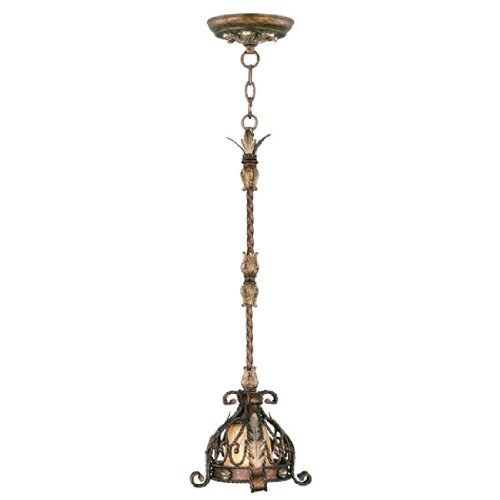 (Livex Lighting 8840-64 Mini Pendant with Hand Embroidered and Decorative Finials Shades, Palatial Bronze with Gilded Accents)