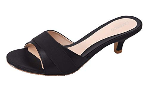 Camssoo Enfiler Extérieur 2 Chaussures Satin Ouvert Mariage Talons Chaussons Mid Fête À Bout Femme Nœud Sandales Black Été Satiné ZwO1AryqzZ