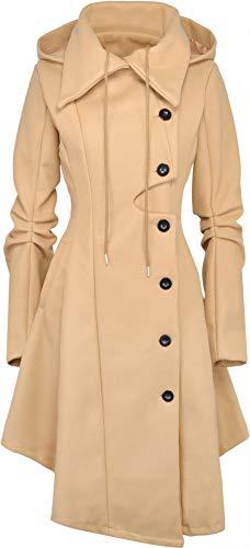 QZUnique Women's Long Personality Collar Outwear Slim Trench Coat