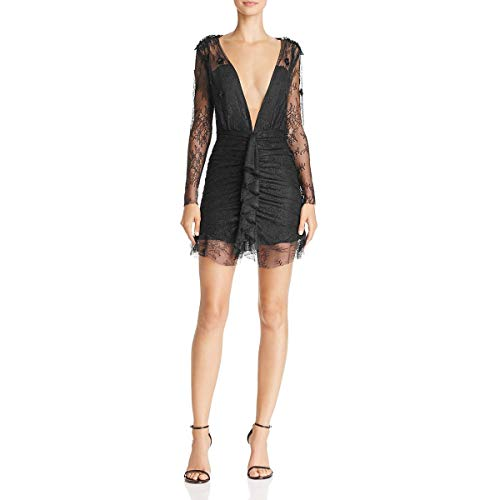 For Love & Lemons Women's Daisy Lace Mini Dress, Black, XS ()