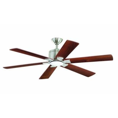 "Renwick 54"" Brushed Nickel Ceiling Fan with LED Light & Remo"