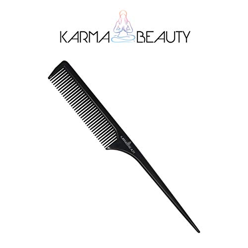 Tail Comb | Fine Tooth Hair Comb | Thin and Long Handle | Teasing Comb | For All Hair Type | Karma Beauty | (Black)