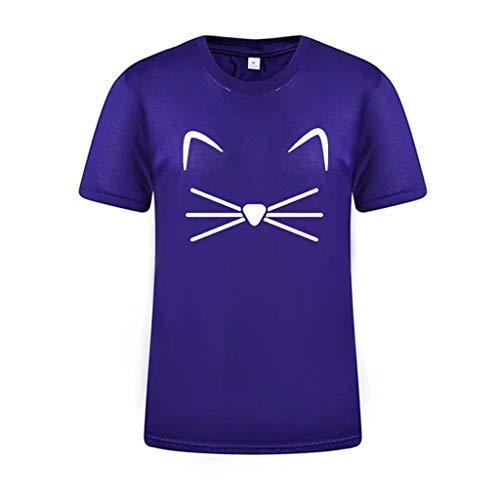 Organic Fish Tee Cotton - Sunhusing Women's Naughty Cat Face Print T-Shirt Summer Solid Color Short Sleeve Top Tee Purple