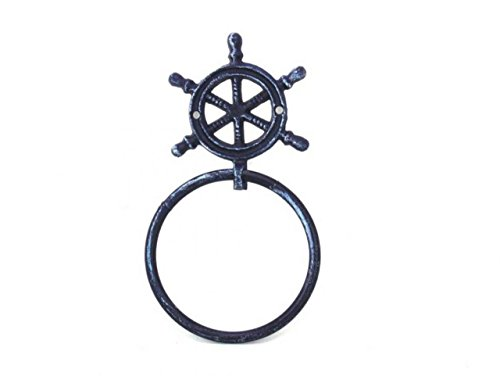 Antique Wheel Ships (Antique Bronze Cast Iron Ship Wheel Towel Holder- Ships Wheel Decoration - Metal Wall Art)