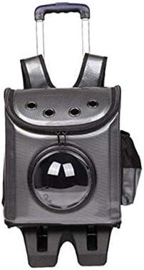 AXRXMA 新しいファッション通気性ポータブルバックパックペットスペースバッグ多機能ペットバッグトロリーケース (Color : Black)