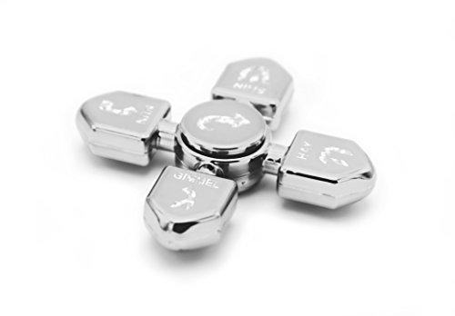 Hanukkah Dreidel Glossy Metallic Silver Fidget Spinner! Chanukah (Plastic Dreidel)