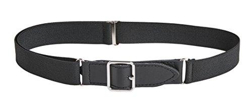 Sportoli8482; Kids Elastic Adjustable Leather Front Stretch Belt with Velcro Closure - Black (Classic Kids Belt)