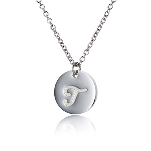 (HUAN XUN T Initial Necklace Letter Pendat Necklace Stainless Steel)