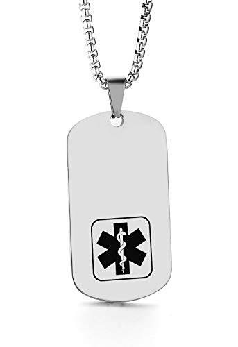 JF.JEWELRY Customize Stainless Steel Medical Alert ID Dog Tag Pendant Necklace for Men and Women-Silver