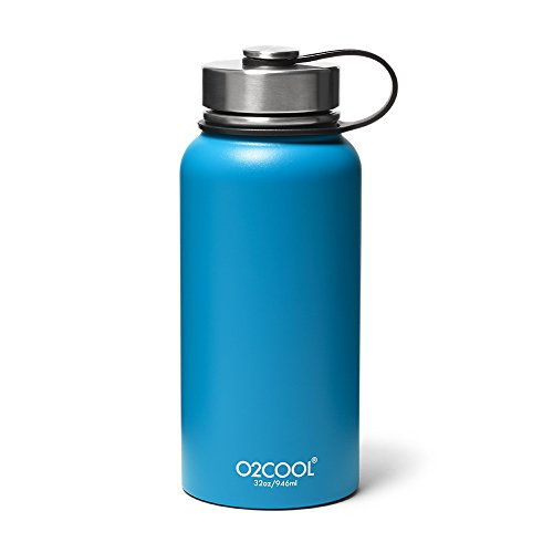 (Eddie Bauer Unisex-Adult O2Cool 32-oz Sequoia Bottle, Blue Regular ONESZE)