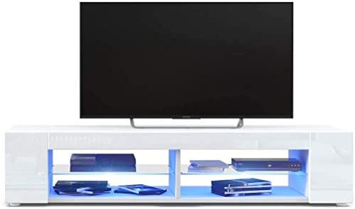 GOTOTOP TV Stand LED TV Cabinet,Modern High Gloss TV Stand Media Console Cabinet Remote Control TV Table Home Furniture