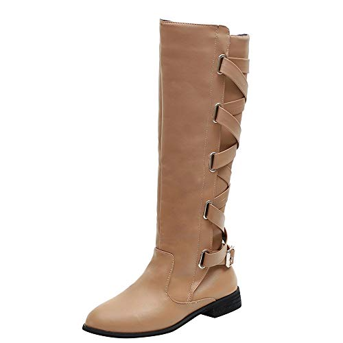 Boots Riding Roman Shoes Cowboy Knee Women Boots Cheap Boots OverDose High Knee Long Buckle Flat Strappy Martin Ladies Khaki Boots xnPnv6I