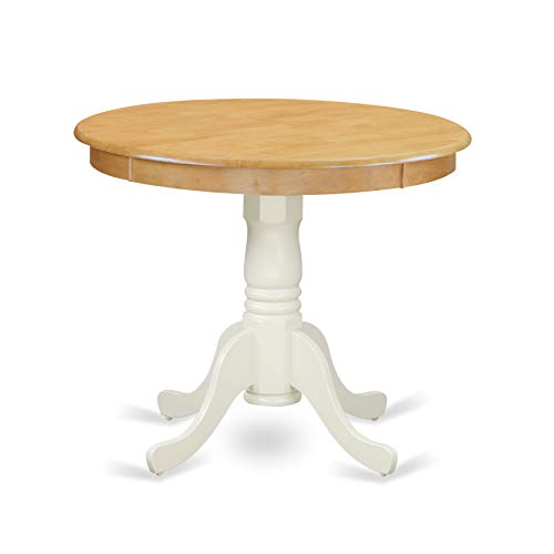 "East West Furniture ANT-OLW-TP Antique Dining Table, 36"" Round, Oak and Linen White Finish"