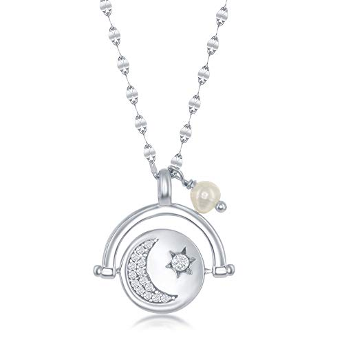 Sterling Silver Moon and Stars Cubic Zirconia Spinning Disc with Freshwater Pearl Flat Mirror Chain Necklace