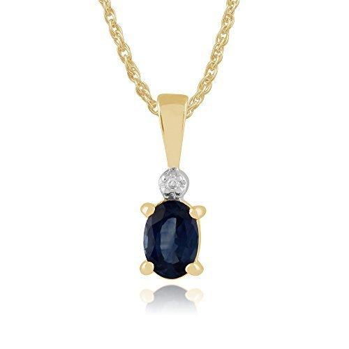 Gemondo Saphir Collier, 9ct Or Jaune 0.57ct Ovale Bleu Clair Kanchanaburi Saphir Et Diamant Pendentif sur 45cm Chaîne