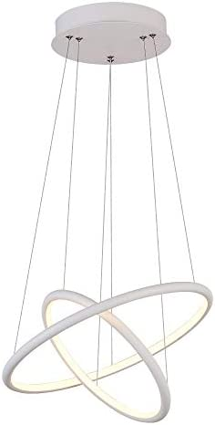 ROYAL PEARL Modern Pendant Lighting Adjustable 2 Rings Hanging Chandelier Lighting for Kitchen Island Living Dining Room Bedroom Warm White 3000K 36W