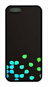 iPhone 5 5S Case Blue Leaves TPU Custom iPhone 5 5S Case Cover Black