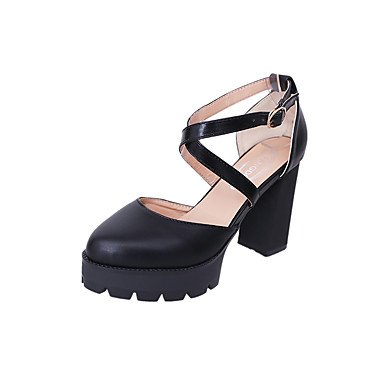 Club US7 Shoes UK5 Dress Block Black Summer PU Evening amp; Shoes Buckle Spring CN38 5 Party EU38 4in Club Heel 3 4 Chunky Women'sSandals 4in FYios Heel 5 BPqfq5