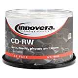 * CD-RW Discs, Rewritable, 700MB/80min, 12x, Spindle, Silver, 50/Pack