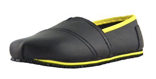 and Slip Shoes Color Oil Womens Slip On Leather Townforst Resistant Yellow qE57w