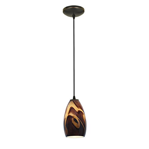 Champagne - E26 LED Cord Pendant - Oil Rubbed Bronze Finish - Inca Glass Shade