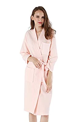 Vogue Forefront Women's Cotton Waffle-Weave Spa Robe Bathrobe Dressing Gown