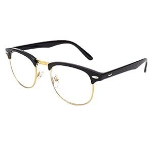Shiratori New Vintage Classic Half Frame Semi-Rimless Wayfarer Clear Lens Glasses …