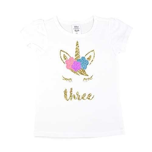 Olive Loves Apple Girls 3rd Birthday Shirt Unicorn Face Three Shirt Short Sleeve Puff Sleeves With Glitter Gold Pink Unicorn Face,Gold,4T