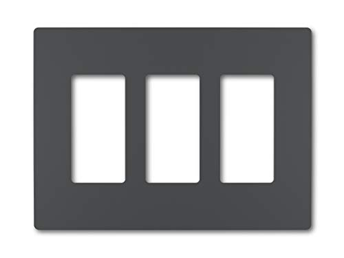 Legrand - Pass & Seymour radiant RWP263GCC6 Three-Gang Screwless Wall Plate, Graphite Finish