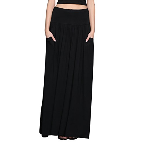 HIKA Women's High Waist Shirring Long Maxi Skirt with Pockets Large Black