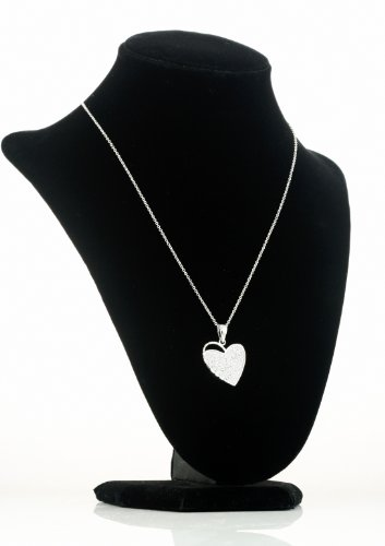 White Gold Plated (Rhodium Plated) 925 Sterling Silver Pave Heart Pendant (chain not included) ()
