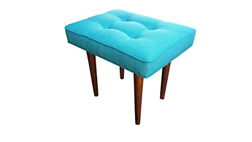 Mid Century Modern Upholstered End Table or Ottoman, Retro Teal