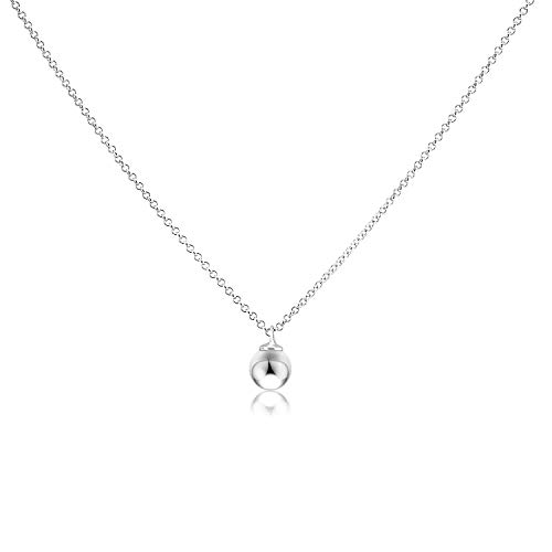 DYUNQ Round Ball Bead Necklace Sterling Silver Simple Dot Necklace High Polished 8mm with Link Chain 18
