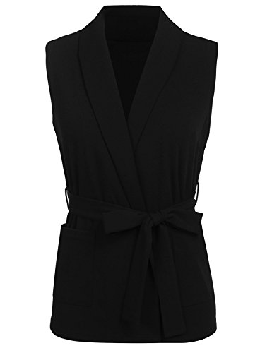 Grabsa Women's Casual Sleeveless Open Front Cardigan Blazer Vest with Pocket Black -