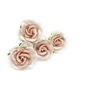 """1.5"""" White Blush Pink Mulberry Paper Flowers, Mulberry Paper Roses, DIY Wedding, Flower Backdrop, Blush Wedding, DIY Flower Crown, Artificial Flowers, 12 Pieces 11"""