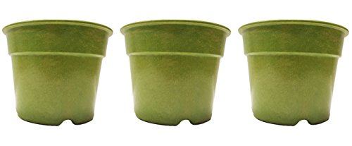 "Set of 3 Green Round 7"" x 5"" Biodegradable Bamboo Fiber Planters (Green)"